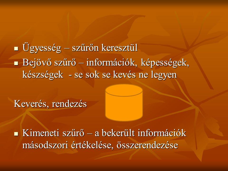 Ügyesség – szűrőn keresztül Ügyesség – szűrőn keresztül Bejövő szűrő – információk, képességek, készségek - se sok se kevés ne legyen Bejövő szűrő – i