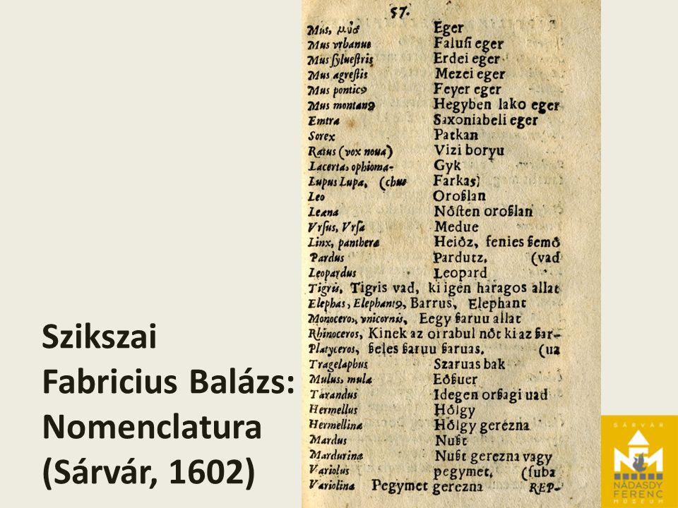 Szikszai Fabricius Balázs: Nomenclatura (Sárvár, 1602)