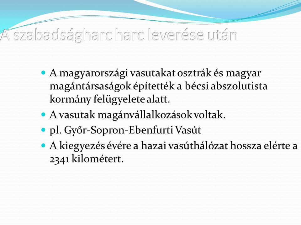 A magyarországi vasutakat osztrák és magyar magántársaságok építették a bécsi abszolutista kormány felügyelete alatt. A vasutak magánvállalkozások vol