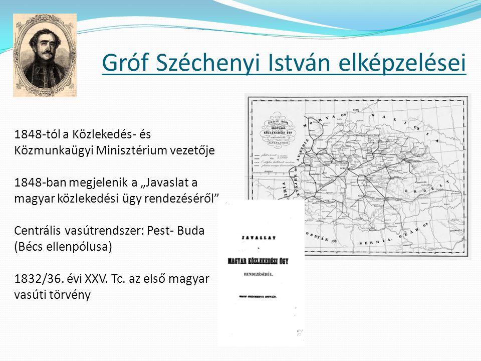 """Gróf Széchenyi István elképzelései 1848-tól a Közlekedés- és Közmunkaügyi Minisztérium vezetője 1848-ban megjelenik a """"Javaslat a magyar közlekedési ü"""