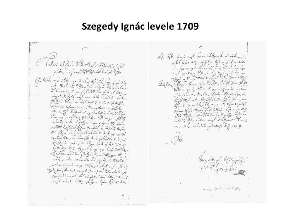 Szegedy Ignác levele 1709