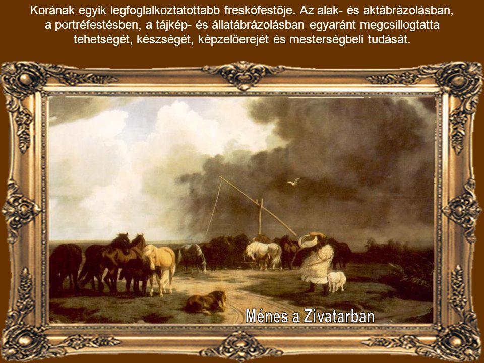 Lotz Károly: Táborozó huszártisztek (1857) A szabadságharc eseményeit (1848) rögzíti a helyszín és az esemény tekintetében pontos akvarelleken.