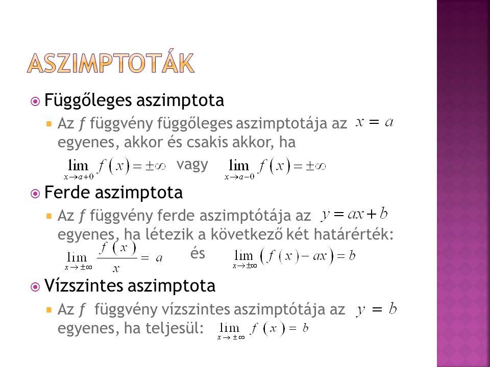  Függőleges aszimptota  Az f függvény függőleges aszimptotája az egyenes, akkor és csakis akkor, ha vagy  Ferde aszimptota  Az f függvény ferde as