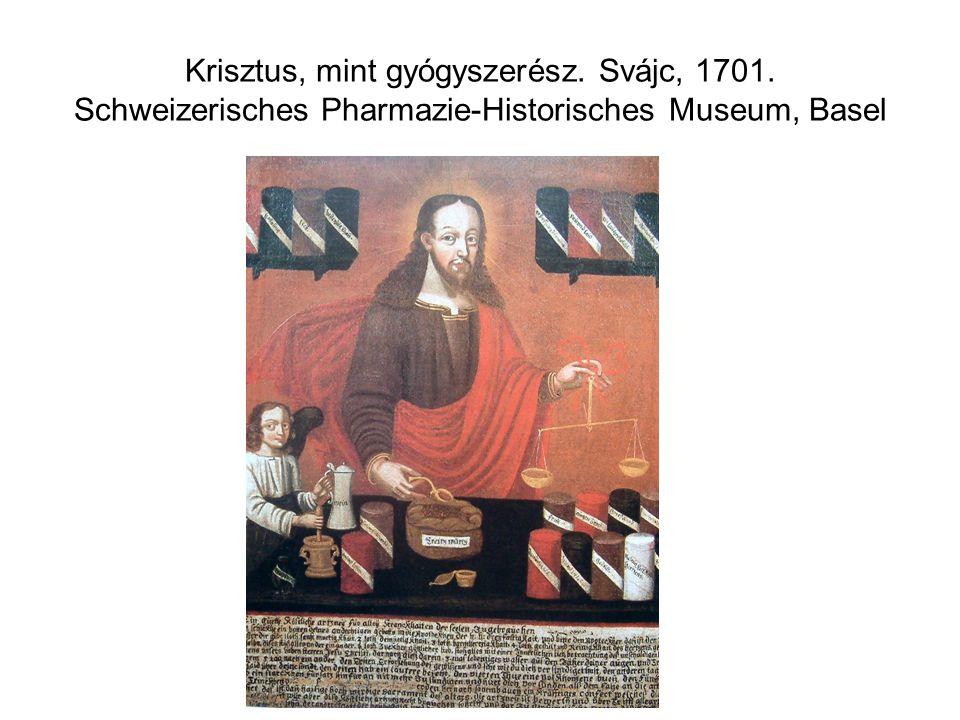 Krisztus, mint gyógyszerész. Svájc, 1701. Schweizerisches Pharmazie-Historisches Museum, Basel