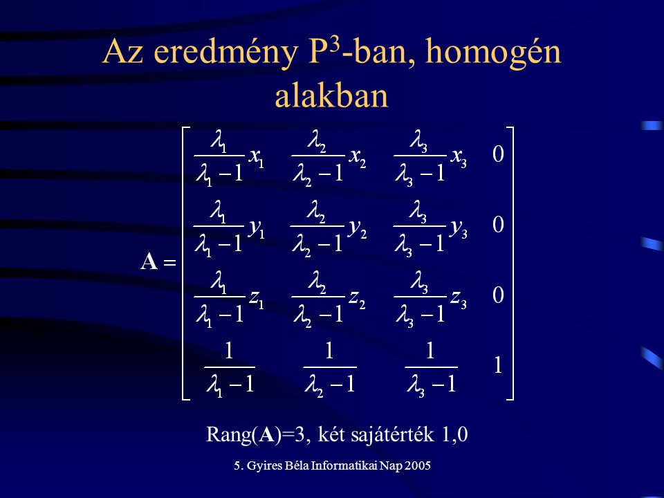 5. Gyires Béla Informatikai Nap 2005 Az eredmény P 3 -ban, homogén alakban Rang(A)=3, két sajátérték 1,0