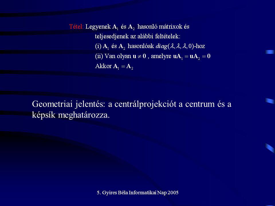 5. Gyires Béla Informatikai Nap 2005 Geometriai jelentés: a centrálprojekciót a centrum és a képsík meghatározza.