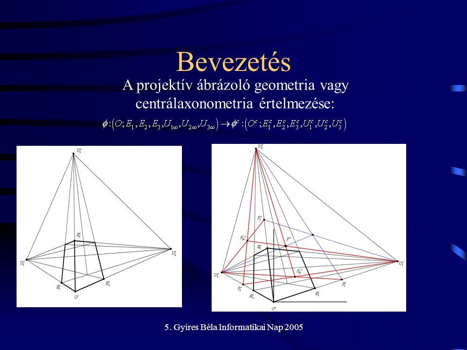 5. Gyires Béla Informatikai Nap 2005 Bevezetés A projektív ábrázoló geometria vagy centrálaxonometria értelmezése: