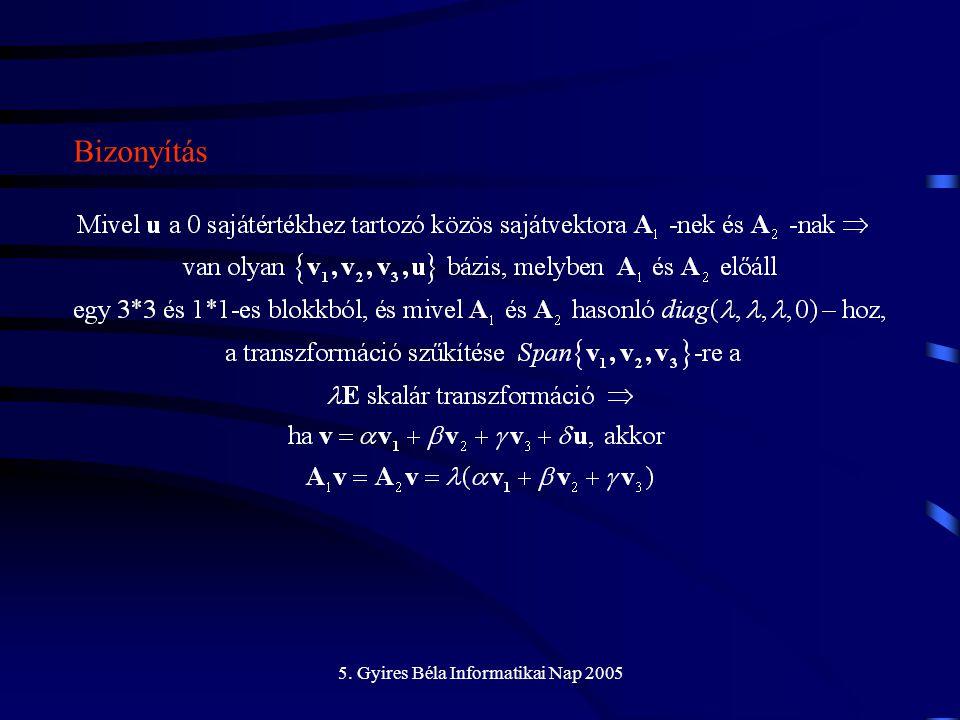 5. Gyires Béla Informatikai Nap 2005 Bizonyítás