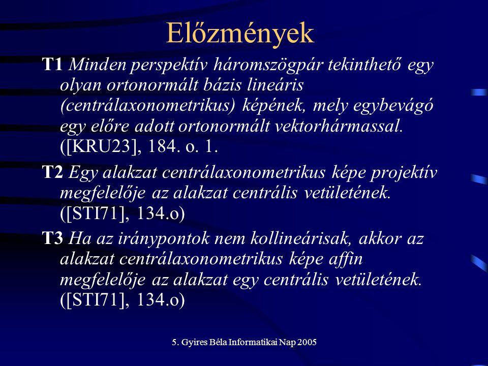 5.Gyires Béla Informatikai Nap 2005 Előzmények Centrálaxonometria Centrálprojekció –1923 E.