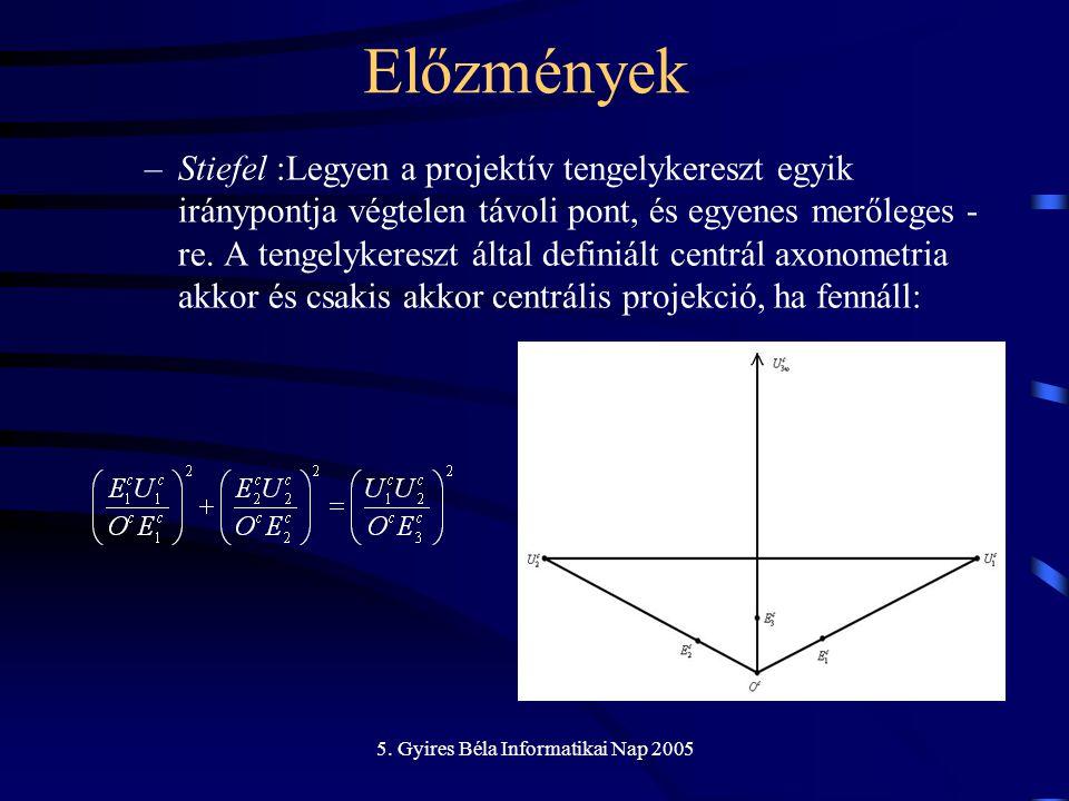 5. Gyires Béla Informatikai Nap 2005 –Stiefel :Legyen a projektív tengelykereszt egyik iránypontja végtelen távoli pont, és egyenes merőleges - re. A