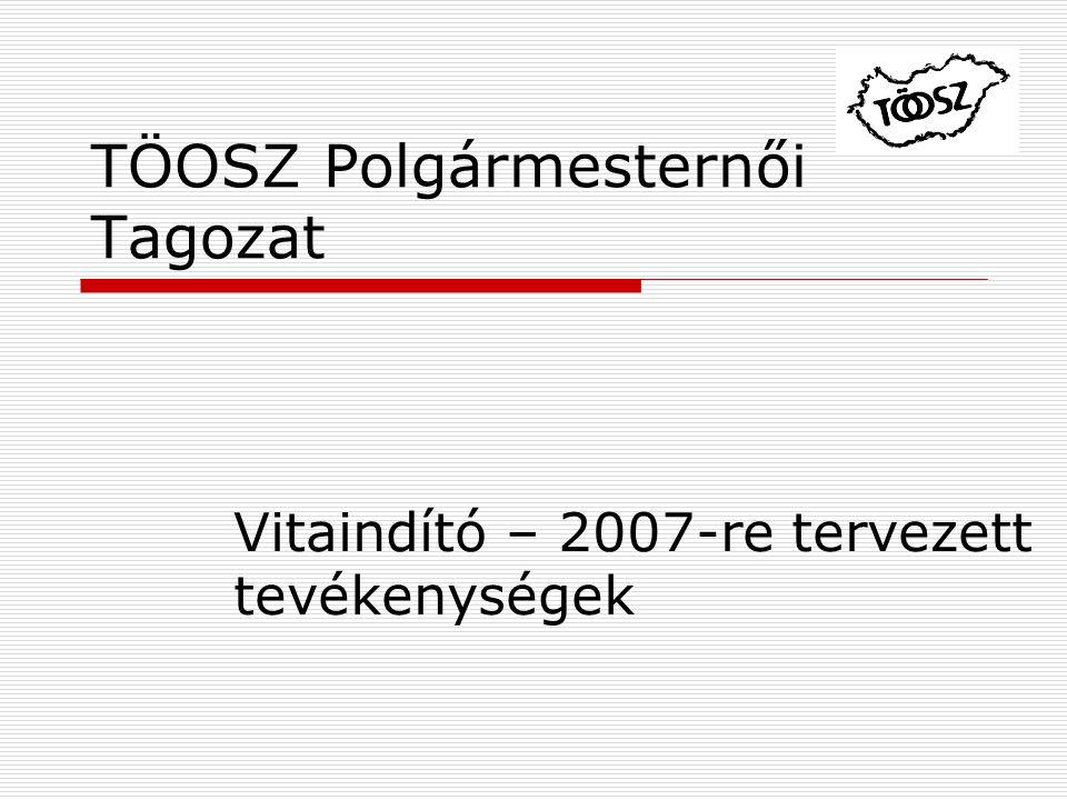 TÖOSZ Polgármesternői Tagozat Vitaindító – 2007-re tervezett tevékenységek
