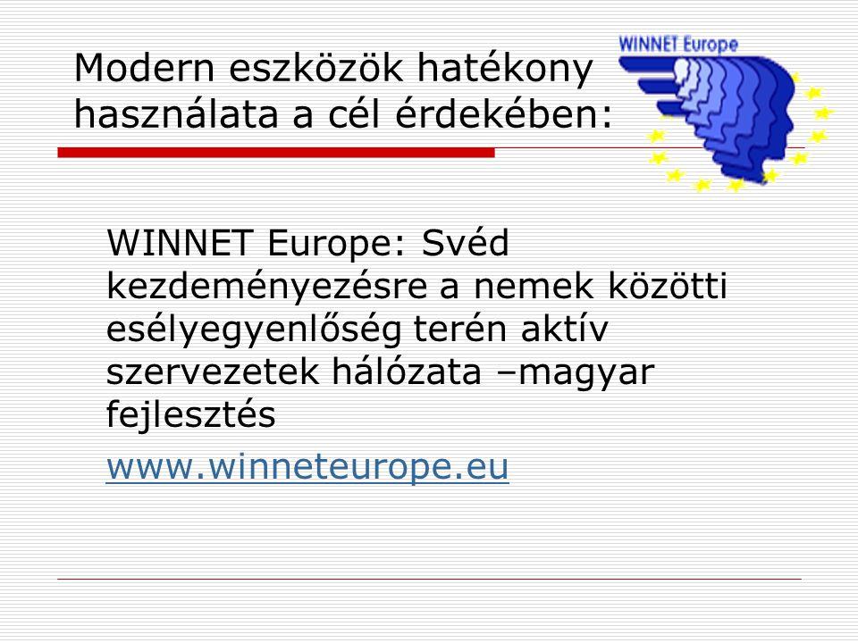 Modern eszközök hatékony használata a cél érdekében: WINNET Europe: Svéd kezdeményezésre a nemek közötti esélyegyenlőség terén aktív szervezetek hálózata –magyar fejlesztés www.winneteurope.eu
