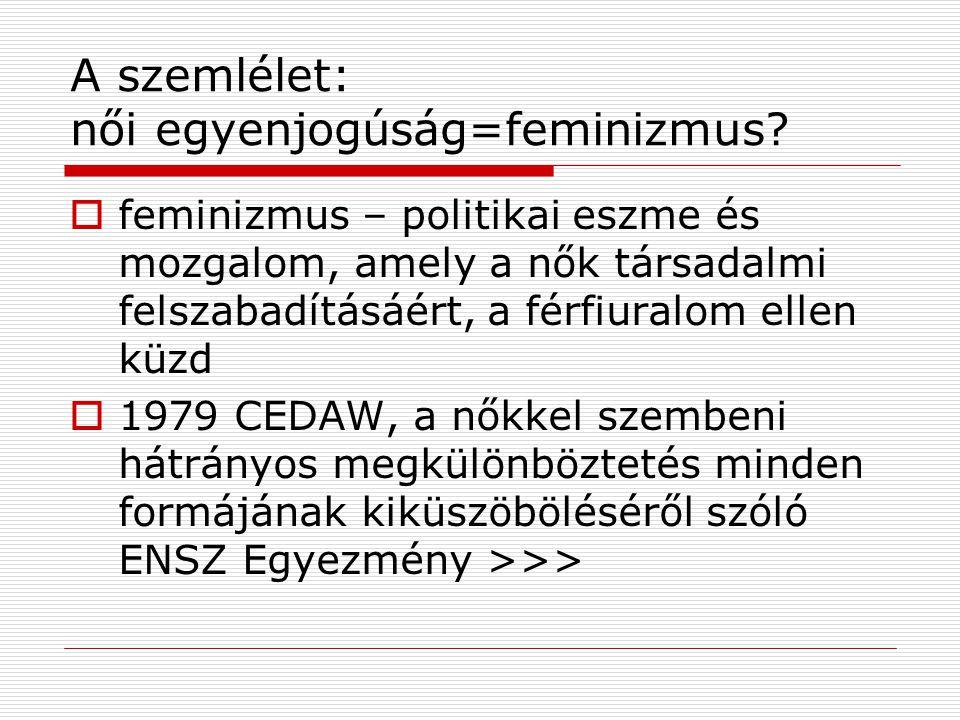 A szemlélet: női egyenjogúság=feminizmus.