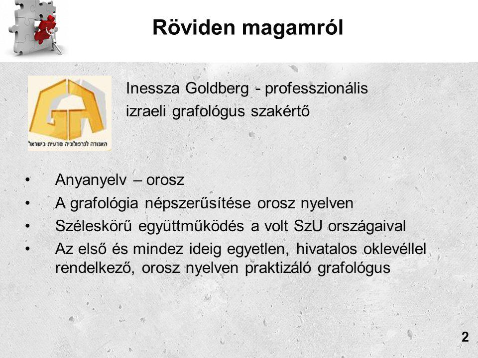 Inessza Goldberg Grafoanalízis Iskolájának tanterve Negyedik félév GYAKORLAT és SZAKOSODÁS 5 foglalkozás: Gyakorlati foglalkozás valamennyi átvett témából és teljes (személyiség)kép szintetizálása; 2 foglalkozás: A lelki állapot értékelése; 2 fogalkozás: A megbízhatóság meghatározása; 4 foglalkozás: A személyiségvizsgálat, az összeférhetőségi vizsgálat és a munkamegfelelőségi vizsgálat (kompetenciánként és blokkonként) összeállításának és elvégzésének sajátosságai; 2 foglalkozás: A hitelképesség pszichológiai értékelésének sajátosságai hitelfelvevőknél; 33