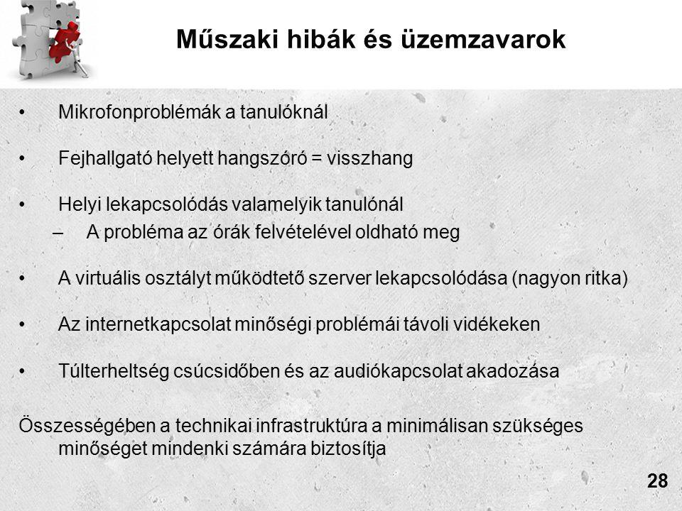 Műszaki hibák és üzemzavarok Mikrofonproblémák a tanulóknál Fejhallgató helyett hangszóró = visszhang Helyi lekapcsolódás valamelyik tanulónál –A probléma az órák felvételével oldható meg A virtuális osztályt működtető szerver lekapcsolódása (nagyon ritka) Az internetkapcsolat minőségi problémái távoli vidékeken Túlterheltség csúcsidőben és az audiókapcsolat akadozása Összességében a technikai infrastruktúra a minimálisan szükséges minőséget mindenki számára biztosítja 28