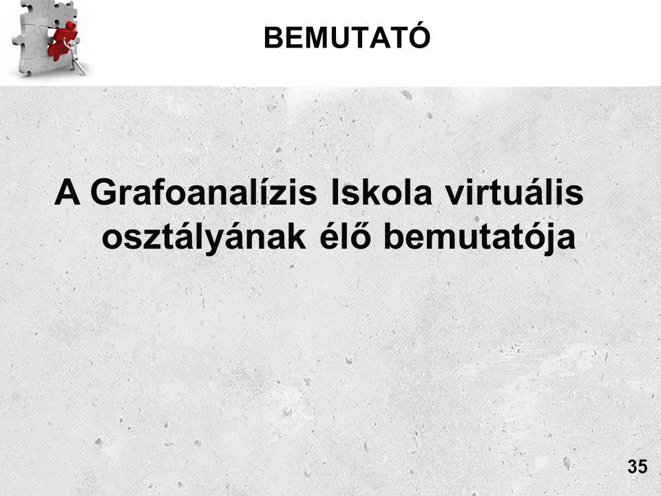 BEMUTATÓ A Grafoanalízis Iskola virtuális osztályának élő bemutatója 35