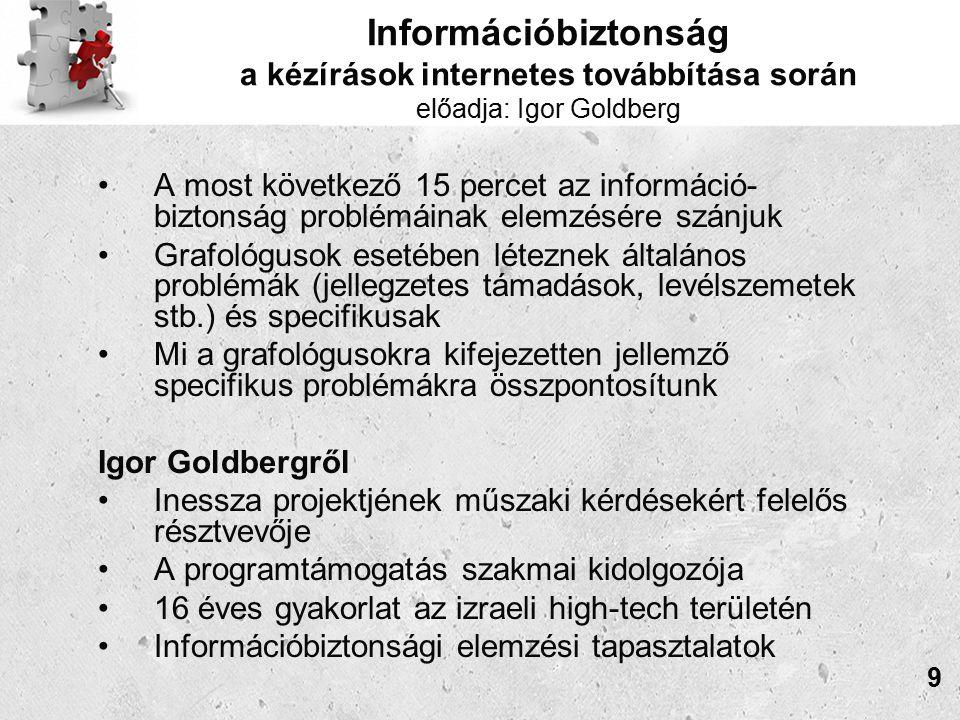 Információbiztonság a kézírások internetes továbbítása során előadja: Igor Goldberg A most következő 15 percet az információ- biztonság problémáinak elemzésére szánjuk Grafológusok esetében léteznek általános problémák (jellegzetes támadások, levélszemetek stb.) és specifikusak Mi a grafológusokra kifejezetten jellemző specifikus problémákra összpontosítunk Igor Goldbergről Inessza projektjének műszaki kérdésekért felelős résztvevője A programtámogatás szakmai kidolgozója 16 éves gyakorlat az izraeli high-tech területén Információbiztonsági elemzési tapasztalatok 9