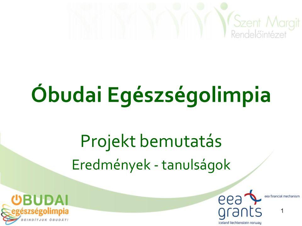 1 Óbudai Egészségolimpia Projekt bemutatás Eredmények - tanulságok