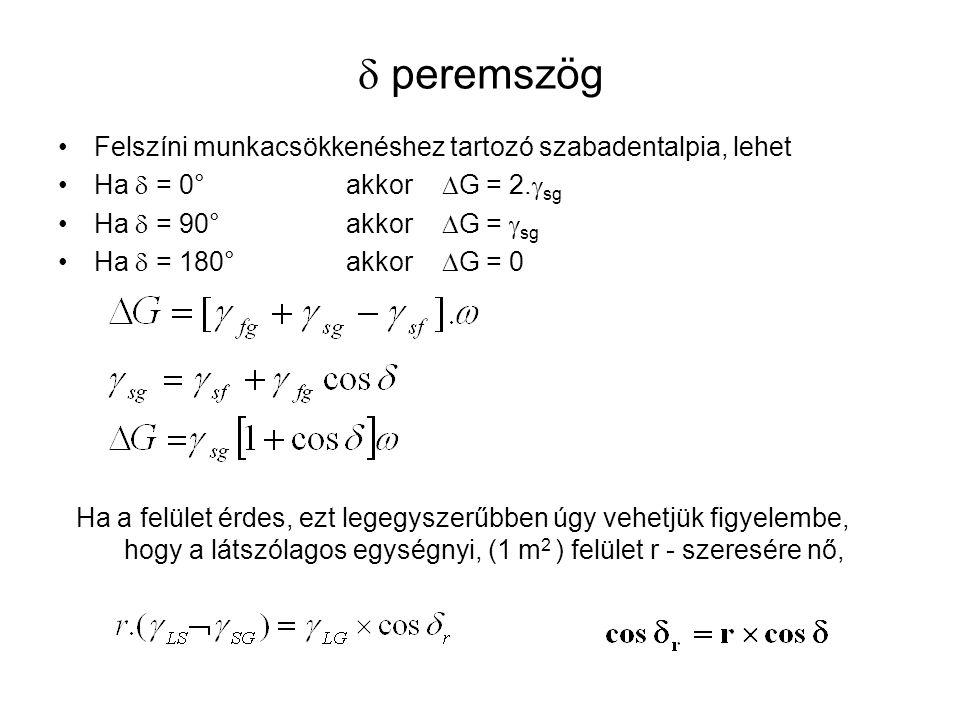  peremszög Felszíni munkacsökkenéshez tartozó szabadentalpia, lehet Ha  = 0°akkor  G = 2.  sg Ha  = 90°akkor  G =  sg Ha  = 180°akkor  G = 0