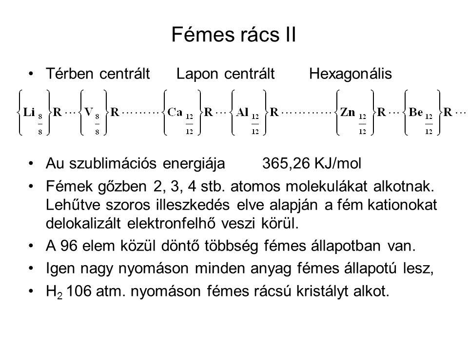 Hidrogén (Proton) Híd H N, O, F atomokkal kötést létesít, akkor H-kötés alakul ki molekulák között és (HF) n, (H 2 O) n, (NH 3 ) n aszociátumok keletkeznek.