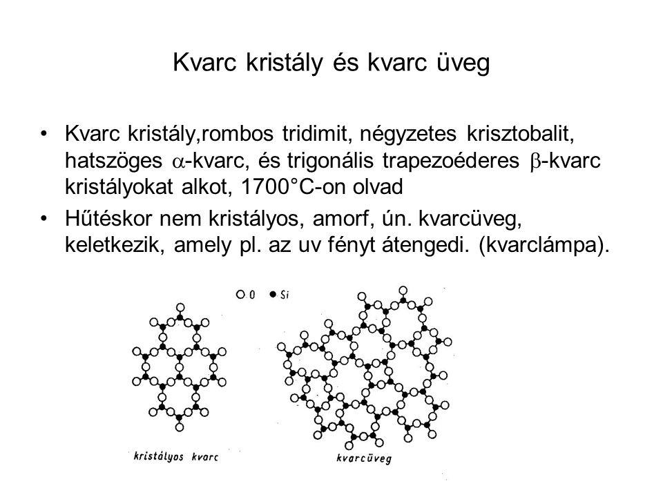 Kvarc kristály és kvarc üveg Kvarc kristály,rombos tridimit, négyzetes krisztobalit, hatszöges  -kvarc, és trigonális trapezoéderes  -kvarc kristály