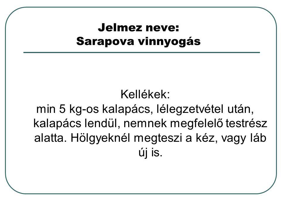 Jelmez neve: Sarapova vinnyogás Kellékek: min 5 kg-os kalapács, lélegzetvétel után, kalapács lendül, nemnek megfelelő testrész alatta. Hölgyeknél megt