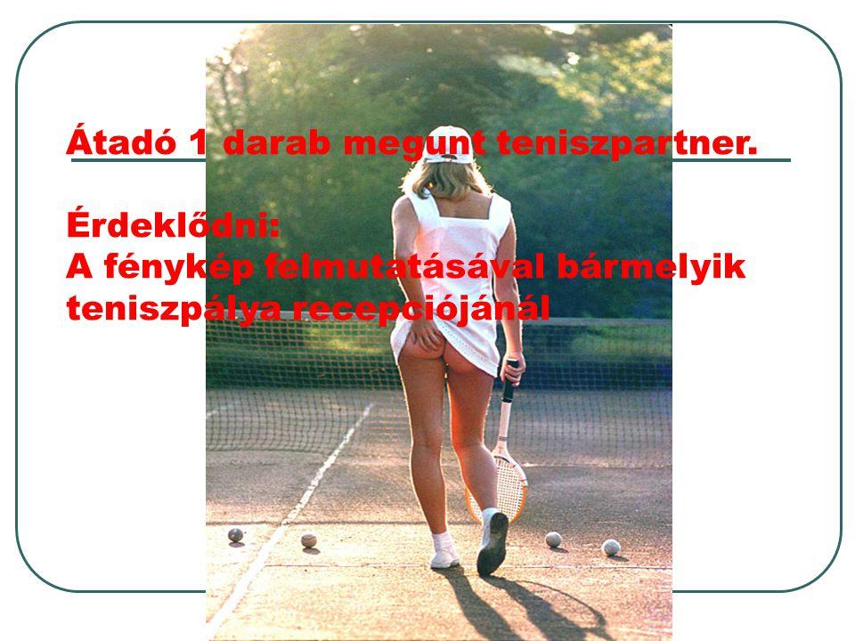 Átadó 1 darab megunt teniszpartner. Érdeklődni: A fénykép felmutatásával bármelyik teniszpálya recepciójánál
