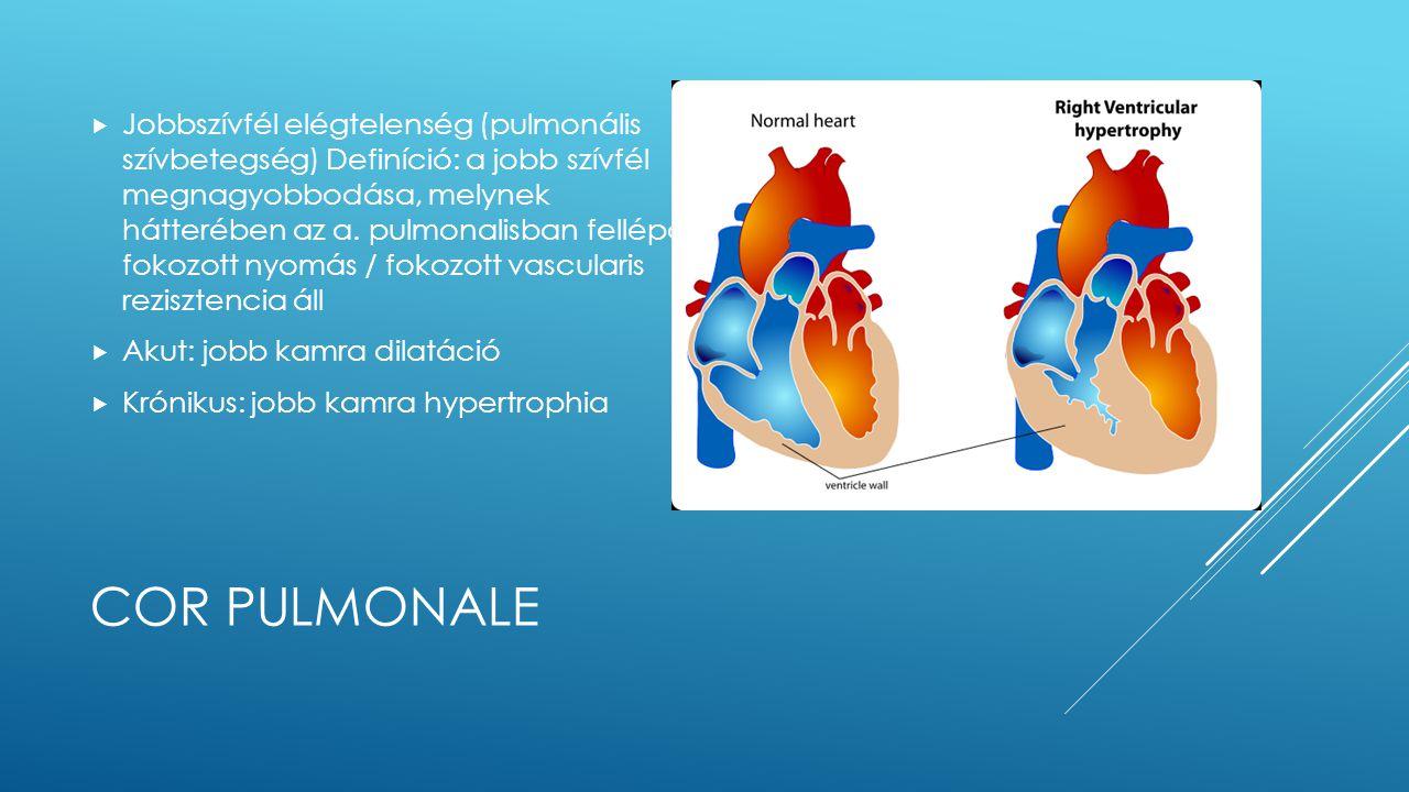 COR PULMONALE  Jobbszívfél elégtelenség (pulmonális szívbetegség) Definíció: a jobb szívfél megnagyobbodása, melynek hátterében az a. pulmonalisban f