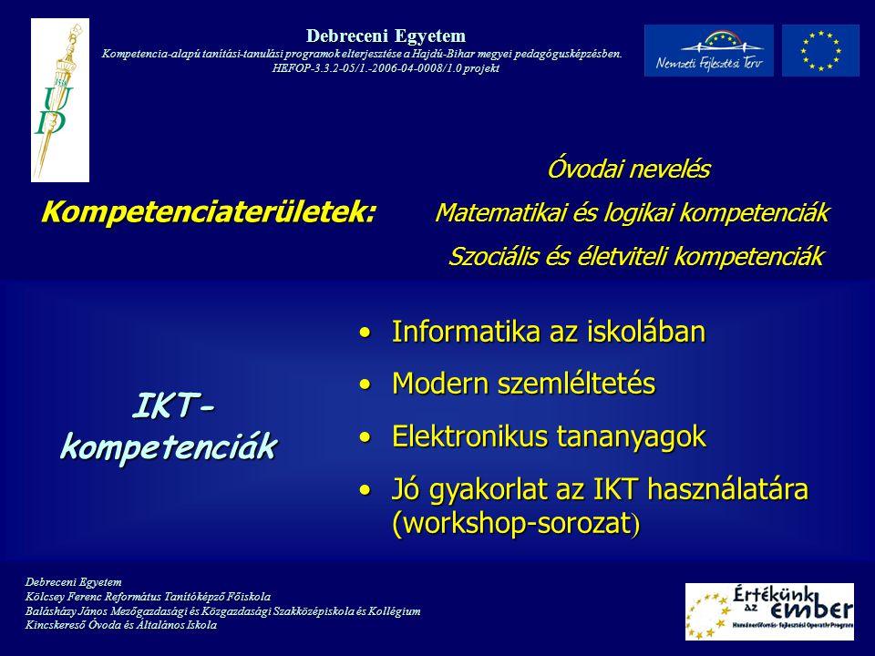 Debreceni Egyetem Kompetencia-alapú tanítási-tanulási programok elterjesztése a Hajdú-Bihar megyei pedagógusképzésben.