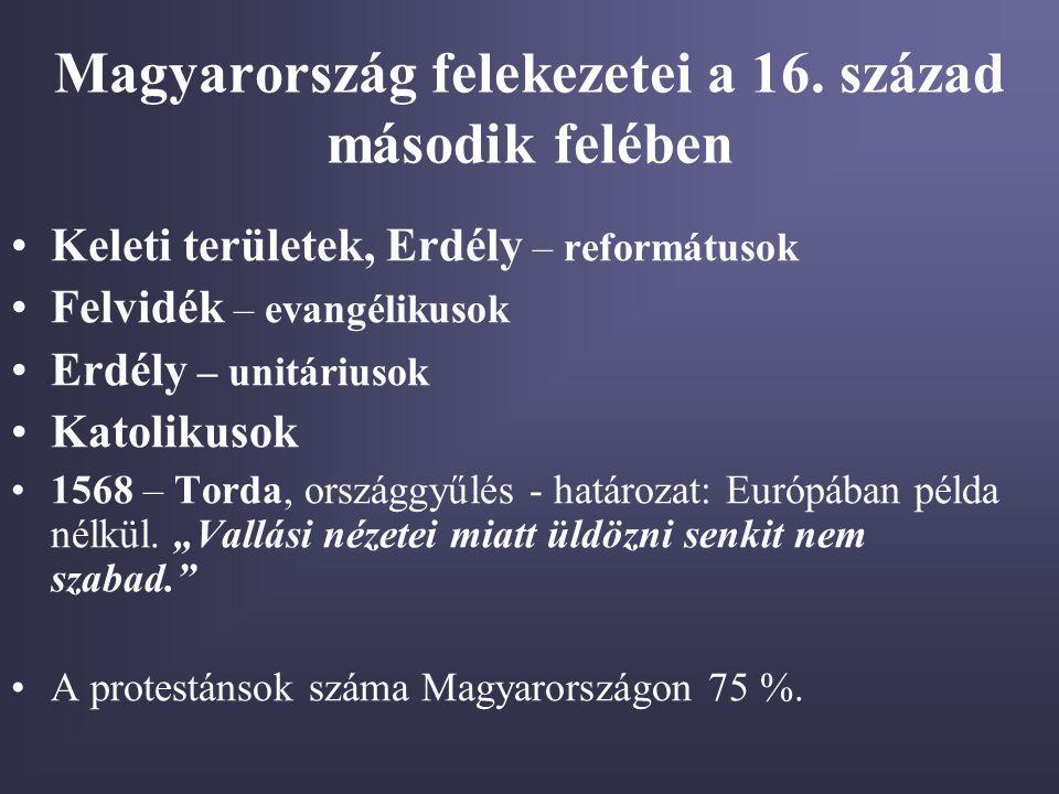 Magyarország felekezetei a 16. század második felében Keleti területek, Erdély – reformátusok Felvidék – evangélikusok Erdély – unitáriusok Katolikuso