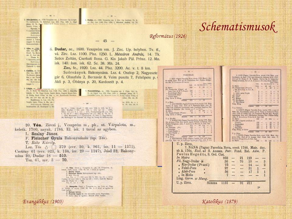 Schematismusok Református (1926) Katolikus (1879)Evangélikus (1903)