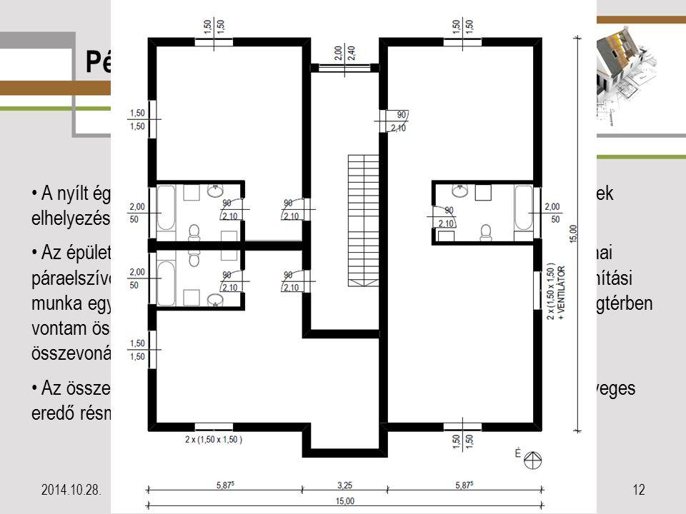 Példa az alkalmazásra II. 2014.10.28.12 A nyílt égésterű gázfogyasztók minden lakásban a fürdőszobákban kerültek elhelyezésre. Valamennyi konyhában el