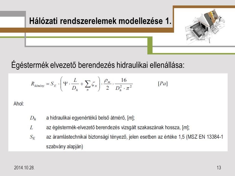 Hálózati rendszerelemek modellezése 1. Égéstermék elvezető berendezés hidraulikai ellenállása: 2014.10.28.13