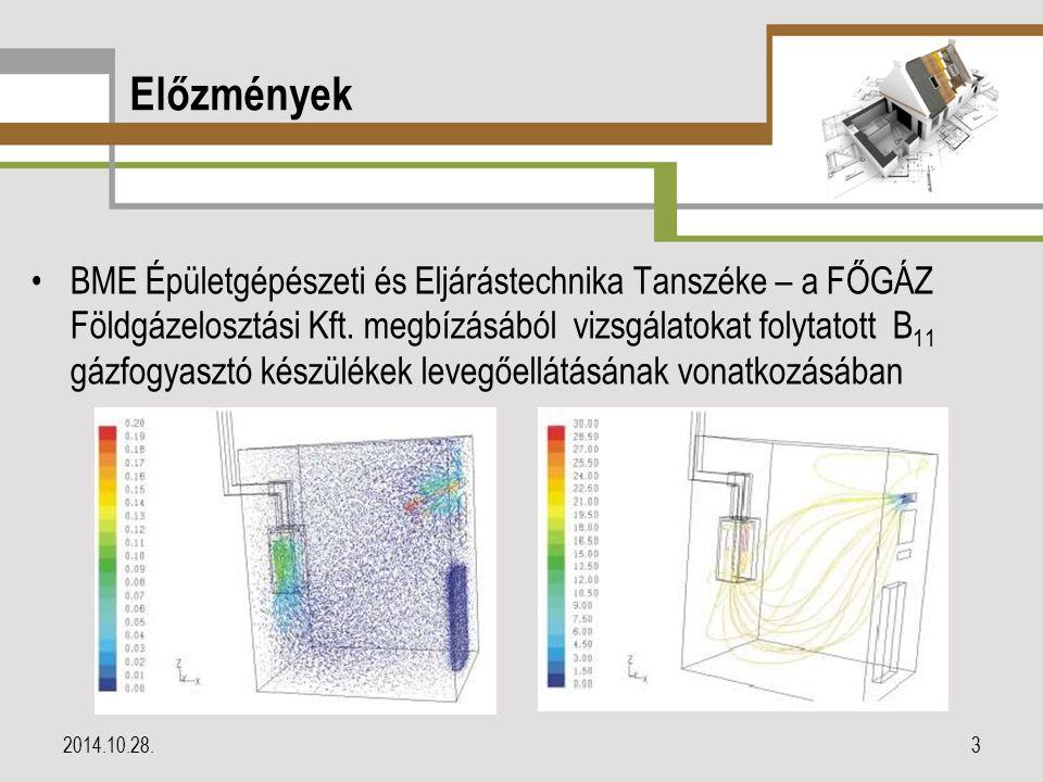 Előzmények BME Épületgépészeti és Eljárástechnika Tanszéke – a FŐGÁZ Földgázelosztási Kft. megbízásából vizsgálatokat folytatott B 11 gázfogyasztó kés