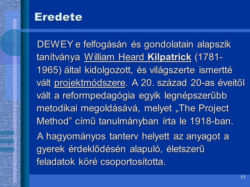 15 Eredete DEWEY e felfogásán és gondolatain alapszik tanítványa William Heard Kilpatrick (1781- 1965) által kidolgozott, és világszerte ismertté vált