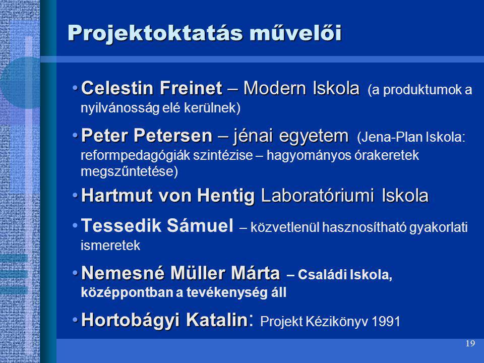 19 Projektoktatás művelői Celestin Freinet – Modern IskolaCelestin Freinet – Modern Iskola (a produktumok a nyilvánosság elé kerülnek) Peter Petersen