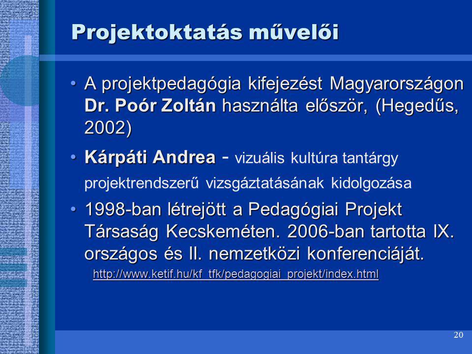 20 A projektpedagógia kifejezést Magyarországon Dr. Poór Zoltán használta először, (Hegedűs, 2002)A projektpedagógia kifejezést Magyarországon Dr. Poó