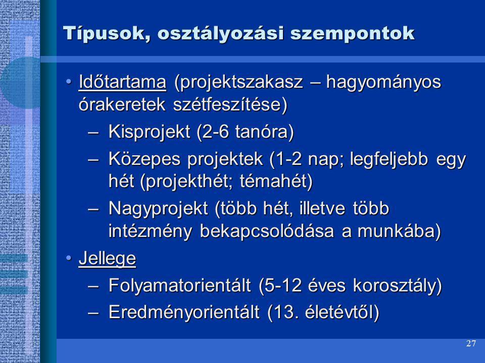27 Típusok, osztályozási szempontok Időtartama (projektszakasz – hagyományos órakeretek szétfeszítése)Időtartama (projektszakasz – hagyományos órakere