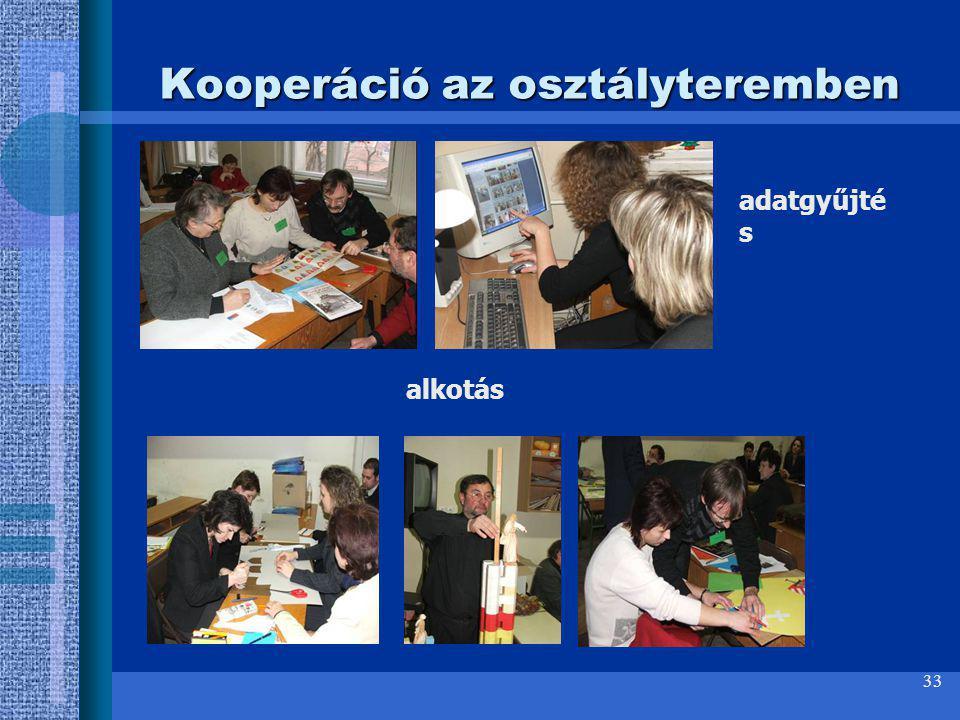 33 Kooperáció az osztályteremben adatgyűjté s alkotás