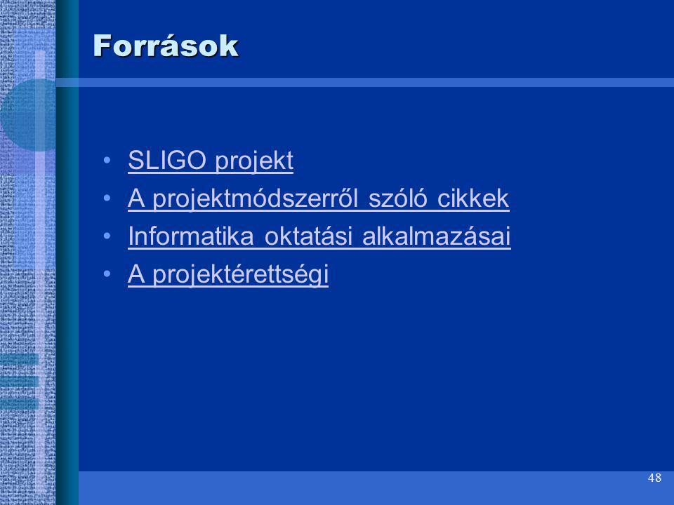 48 Források SLIGO projekt A projektmódszerről szóló cikkek Informatika oktatási alkalmazásai A projektérettségi