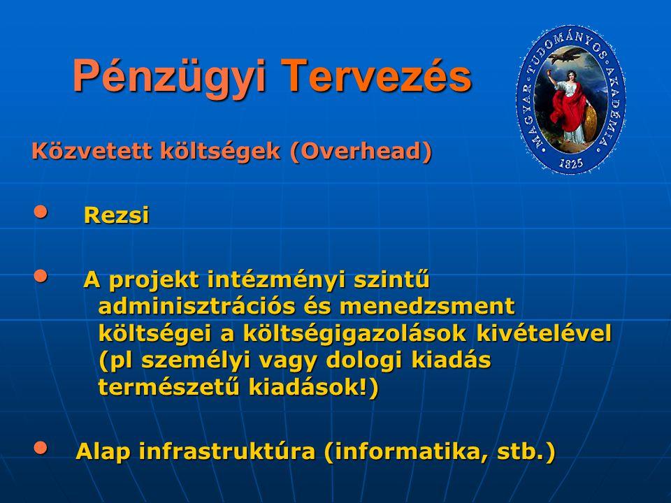 Pénzügyi Tervezés Közvetett költségek (Overhead) Rezsi Rezsi A projekt intézményi szintű adminisztrációs és menedzsment költségei a költségigazolások