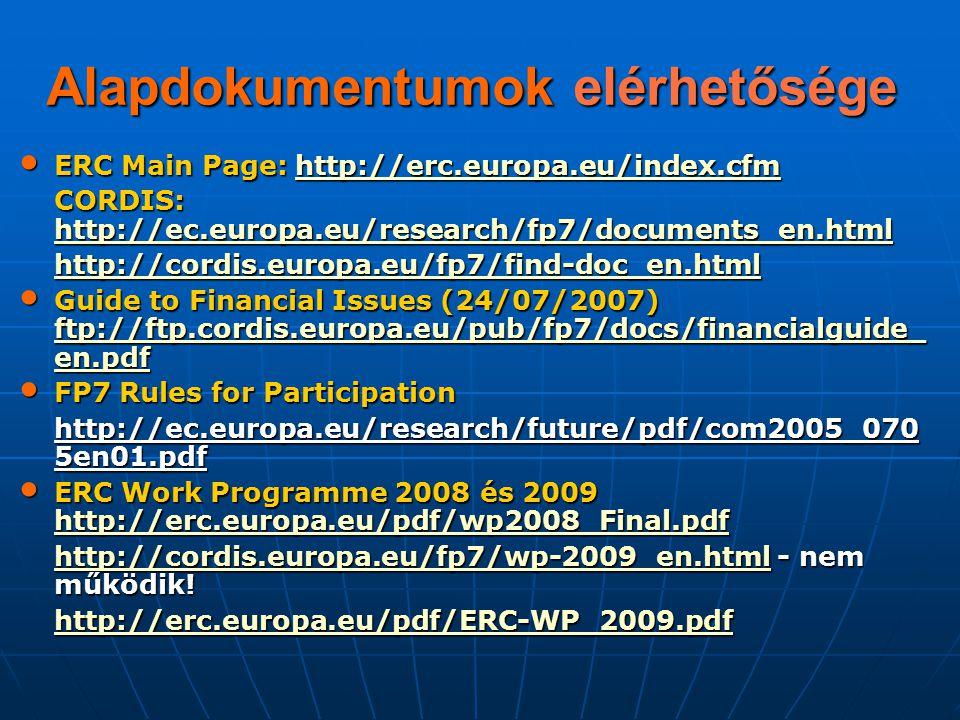 Alapdokumentumok elérhetősége ERC Main Page: http://erc.europa.eu/index.cfm ERC Main Page: http://erc.europa.eu/index.cfmhttp://erc.europa.eu/index.cf