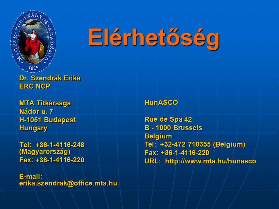 Elérhetőség Dr. Szendrák Erika ERC NCP MTA Titkársága Nádor u. 7 H-1051 Budapest Hungary Tel: +36-1-4116-248 (Magyarország) Fax: +36-1-4116-220 E-mail