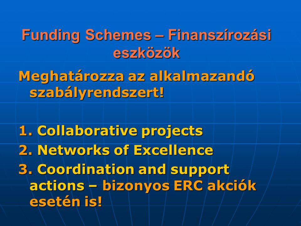 Funding Schemes – Finanszírozási eszközök Meghatározza az alkalmazandó szabályrendszert! 1. Collaborative projects 2. Networks of Excellence 3. Coordi
