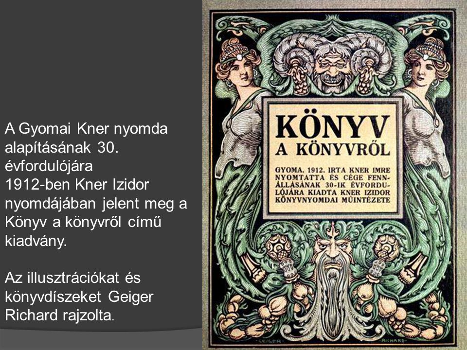 A Gyomai Kner nyomda alapításának 30. évfordulójára 1912-ben Kner Izidor nyomdájában jelent meg a Könyv a könyvről című kiadvány. Az illusztrációkat é