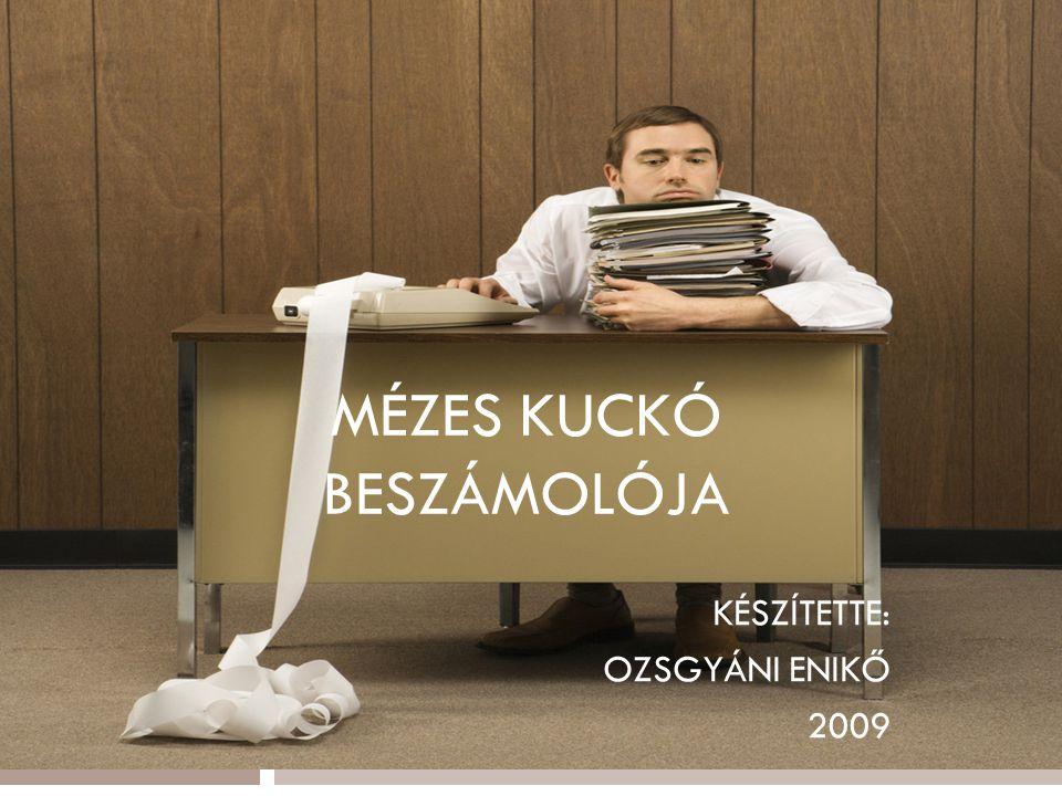 MÉZES KUCKÓ BESZÁMOLÓJA KÉSZÍTETTE: OZSGYÁNI ENIKŐ 2009