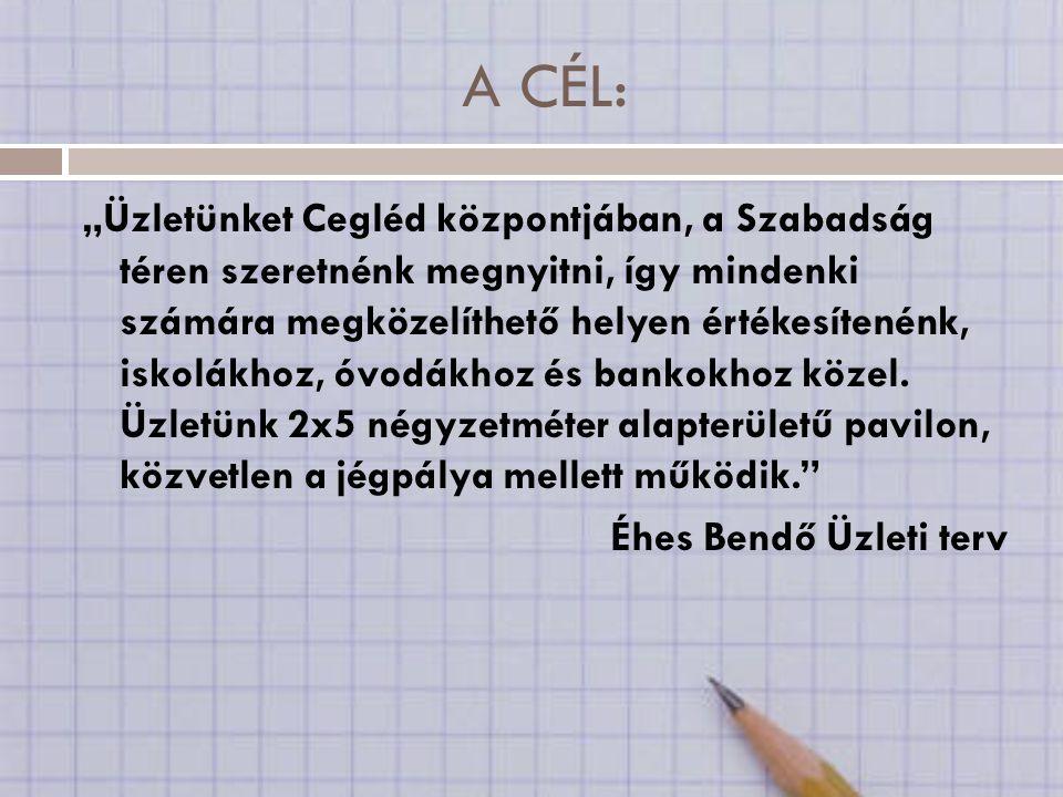 """A CÉL: """"Üzletünket Cegléd központjában, a Szabadság téren szeretnénk megnyitni, így mindenki számára megközelíthető helyen értékesítenénk, iskolákhoz, óvodákhoz és bankokhoz közel."""