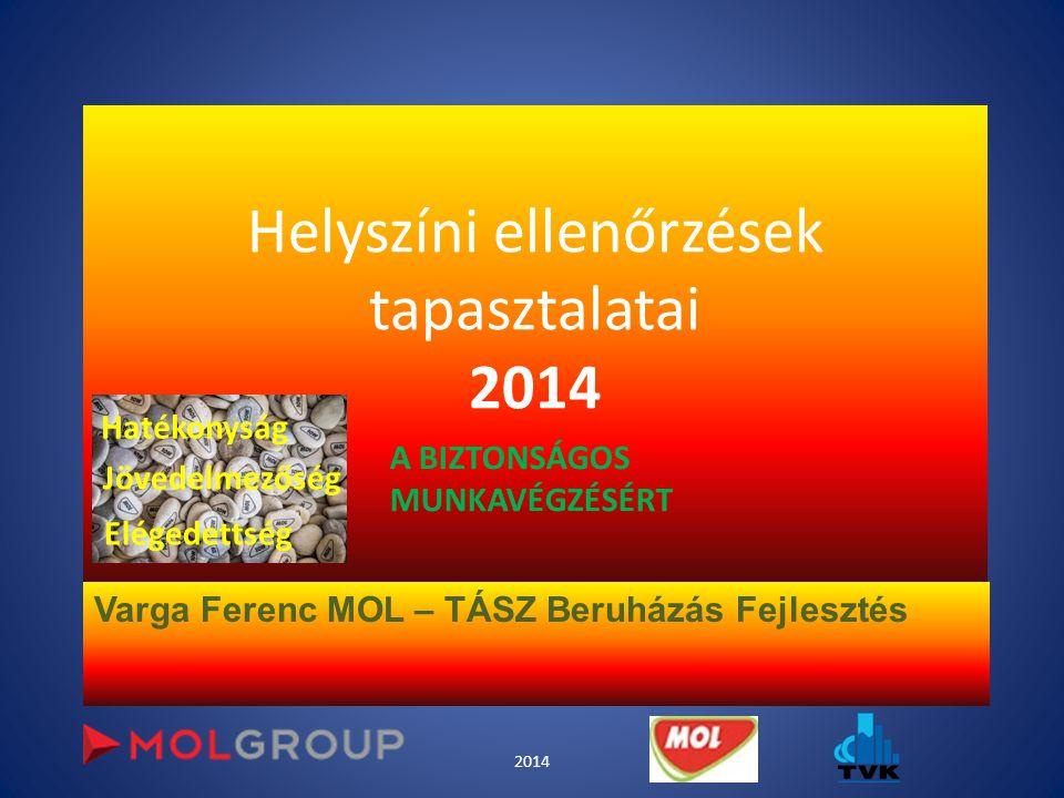 Helyszíni ellenőrzések tapasztalatai 2014 Varga Ferenc MOL – TÁSZ Beruházás Fejlesztés 2014 Hatékonyság Jövedelmezőség Elégedettség A BIZTONSÁGOS MUNK