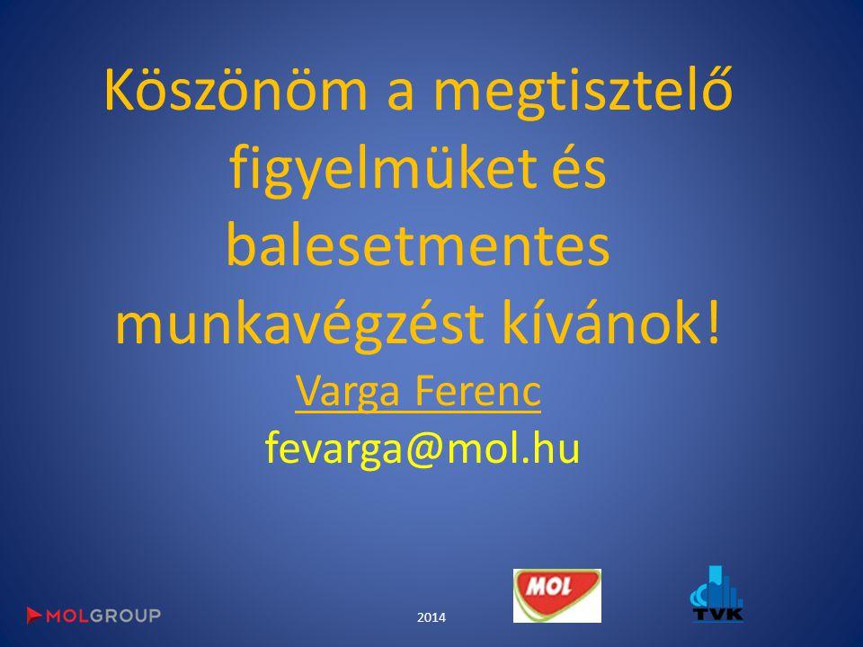 Köszönöm a megtisztelő figyelmüket és balesetmentes munkavégzést kívánok! Varga Ferenc fevarga@mol.hu
