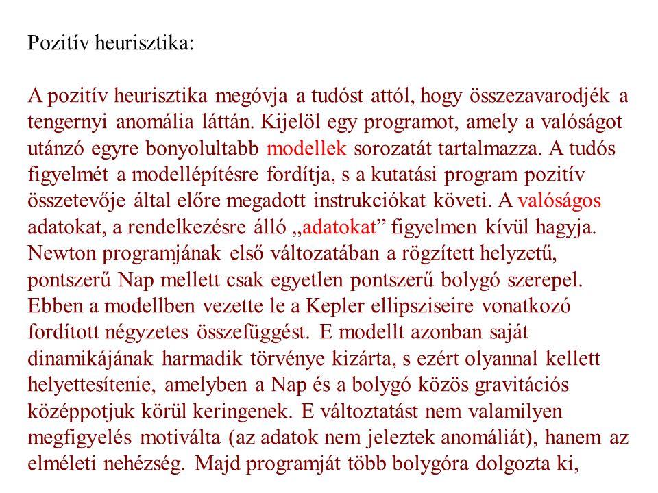 Pozitív heurisztika: A pozitív heurisztika megóvja a tudóst attól, hogy összezavarodjék a tengernyi anomália láttán. Kijelöl egy programot, amely a va